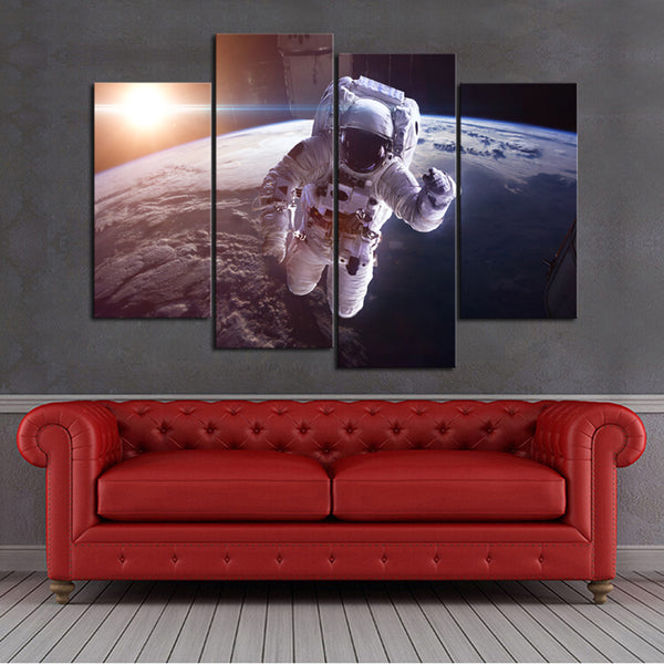 """Astronaut Earth Spaceship"" Painting Multi Panel Modular Wall Art HD Printed Canvas"