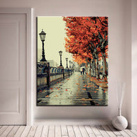 """Love The Autumn"" DIY Painting Wall Art Acrylic by Numbers – Acrylic Paints & Brushes Included"