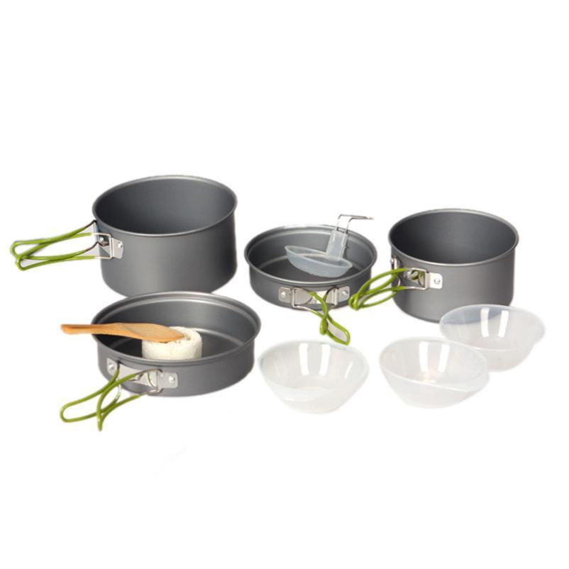 Pots and pans with green clapping handles