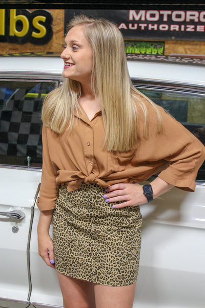 Camel Button Up Crop Top