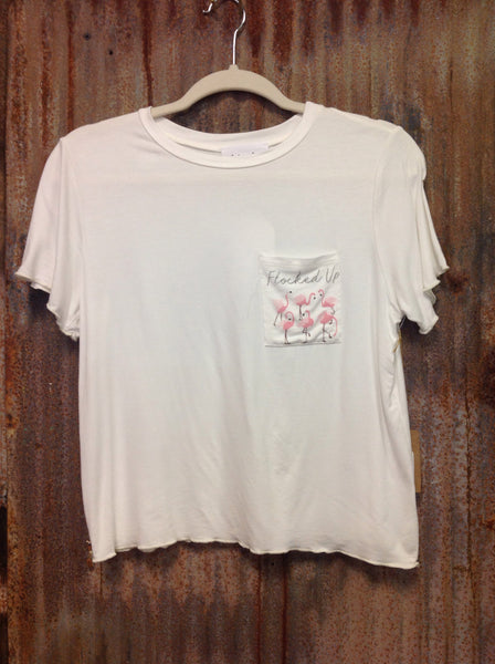 "White ""flocked up"" pocket T"