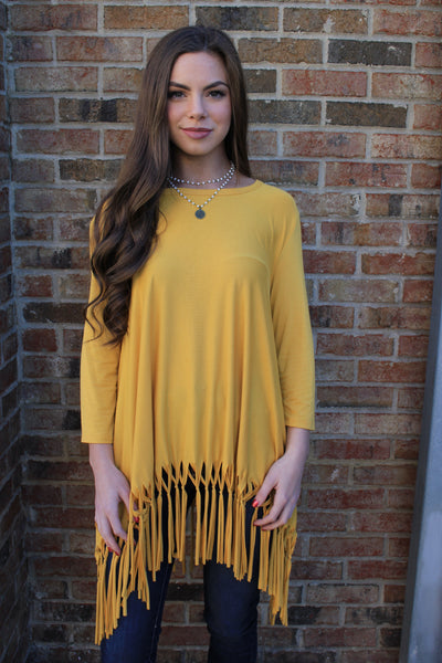 3/4 Sleeve Fringe Top-Mustard