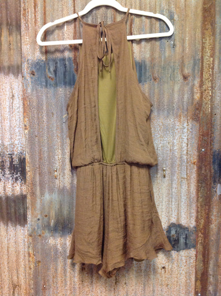 Brown Open Back Romper