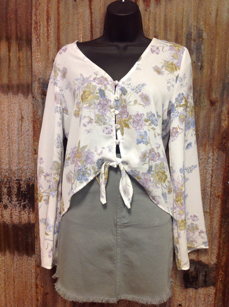 White floral button up long sleeve top