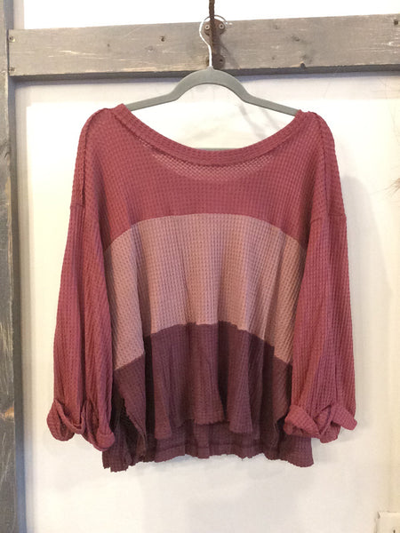 Waffle Knit Color Block Long Sleeve