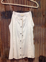 Ivory button and lace detail tank top