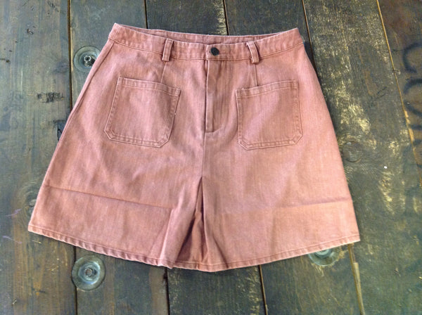 Washed Rose Denim Skirt