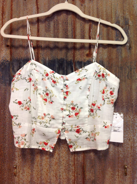 ivory and floral button up crop tank top