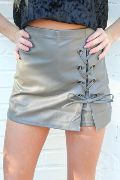 Leather Side Lace Up Skort