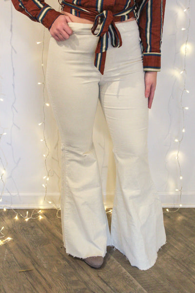 Ivory Corduroy Fringe Bell Bottom Pants
