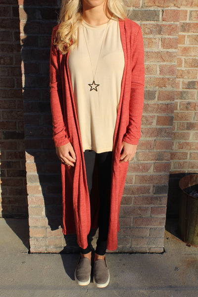 Rust Long Sleeve Duster