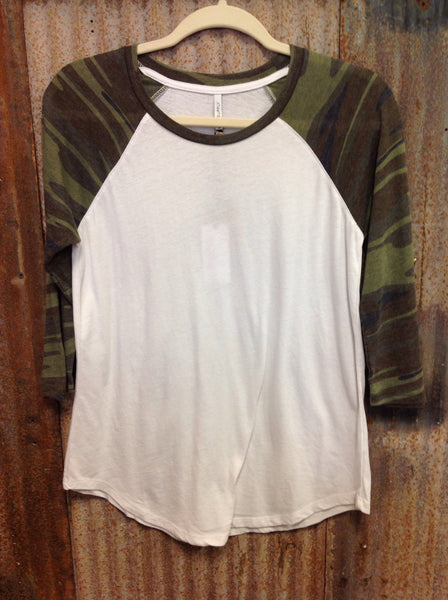 Z Supply Camo Baseball Tee-Green