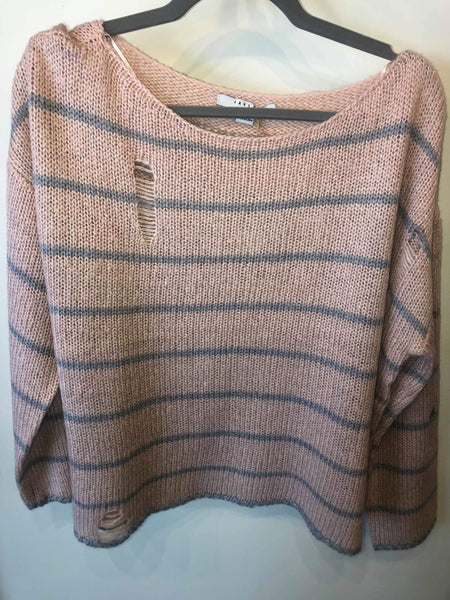 Plus Distressed Striped Sweater