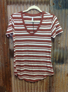 Z Supply Stripped V-Neck - Clay