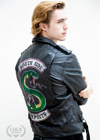 Trevor Stines from Riverdale Wearing SouthSide Serpents Jacket Jason Blossom Actor Luca Designs