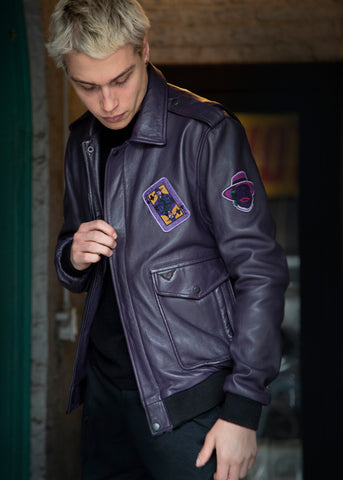 Buy Mens New Joker Movie Jacket Bomber Leather Jacket Purple