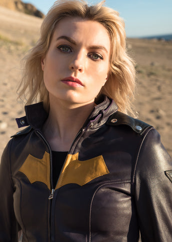 Female model wearing Napa Leather Batgirl Jacket