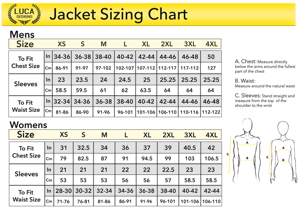 Luca Designs Size Chart