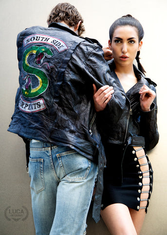 Buy Luca Designs Womens Riverdale Southside Serpents Leather Jacket Back