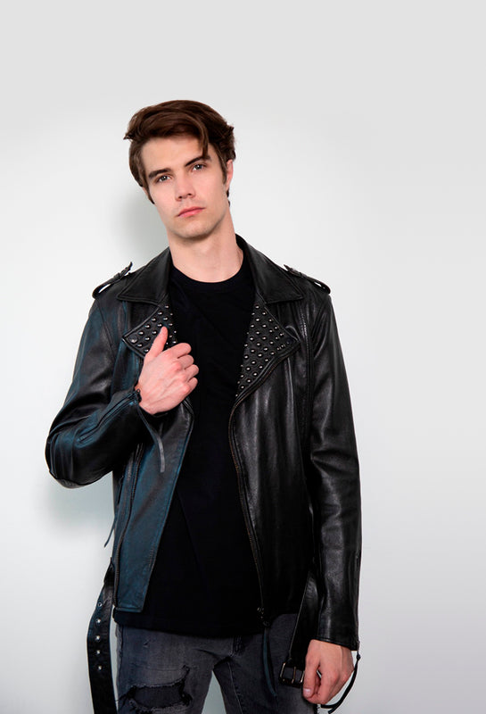 Premium Organic Leather Dome Studded Black Leather Jacket