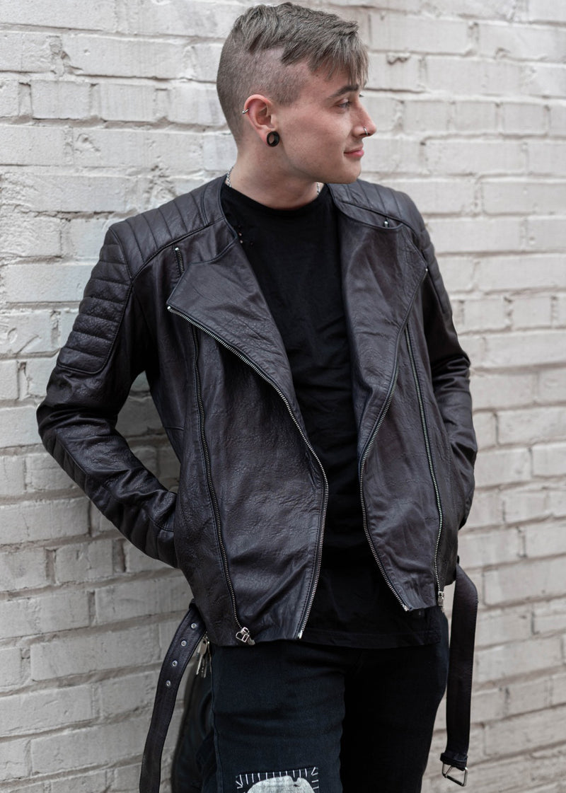 Mens Biker Quilted Leather Jacket Black Fall Fashion