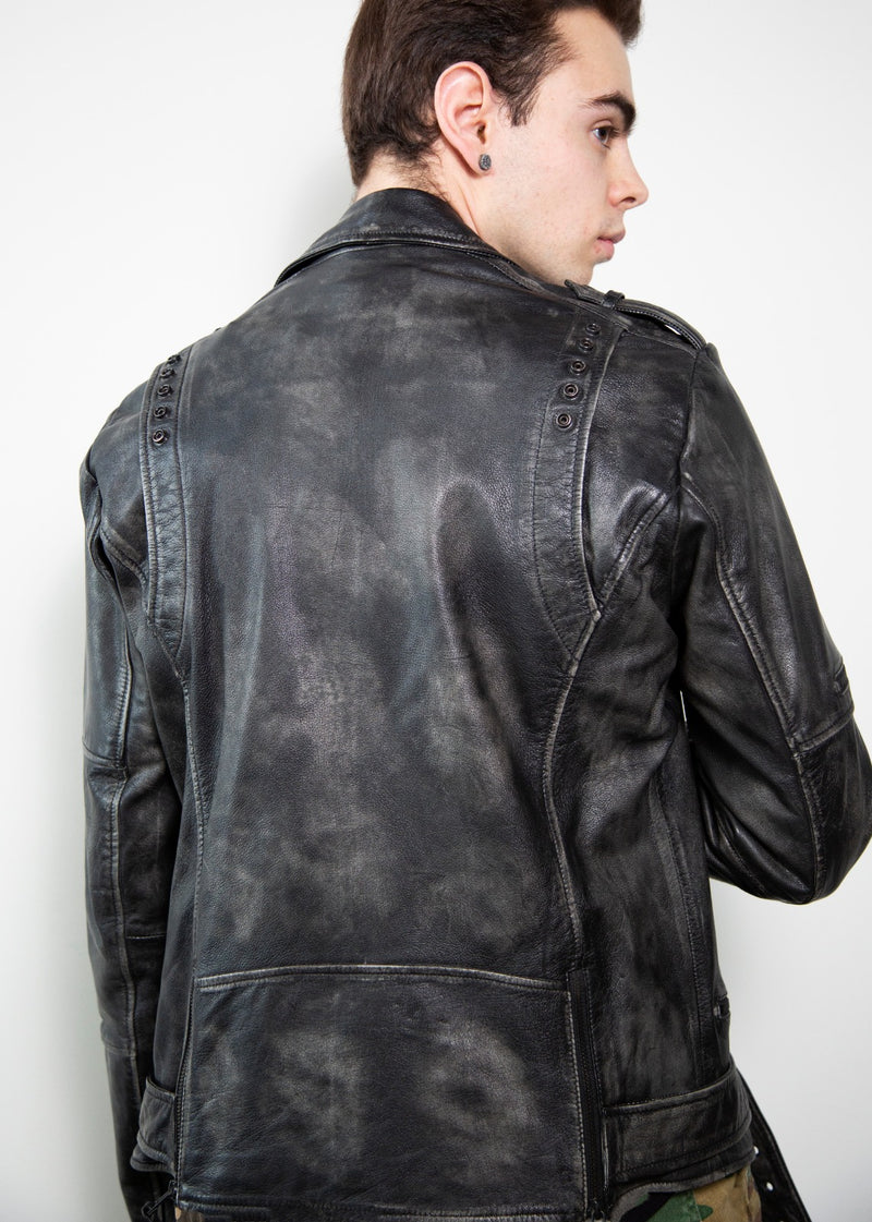 Mens Taylor Rub-off Gray Motorcycle Leather Jacket