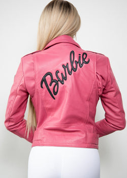Buy Womens Barbie Pink Leather Jacket