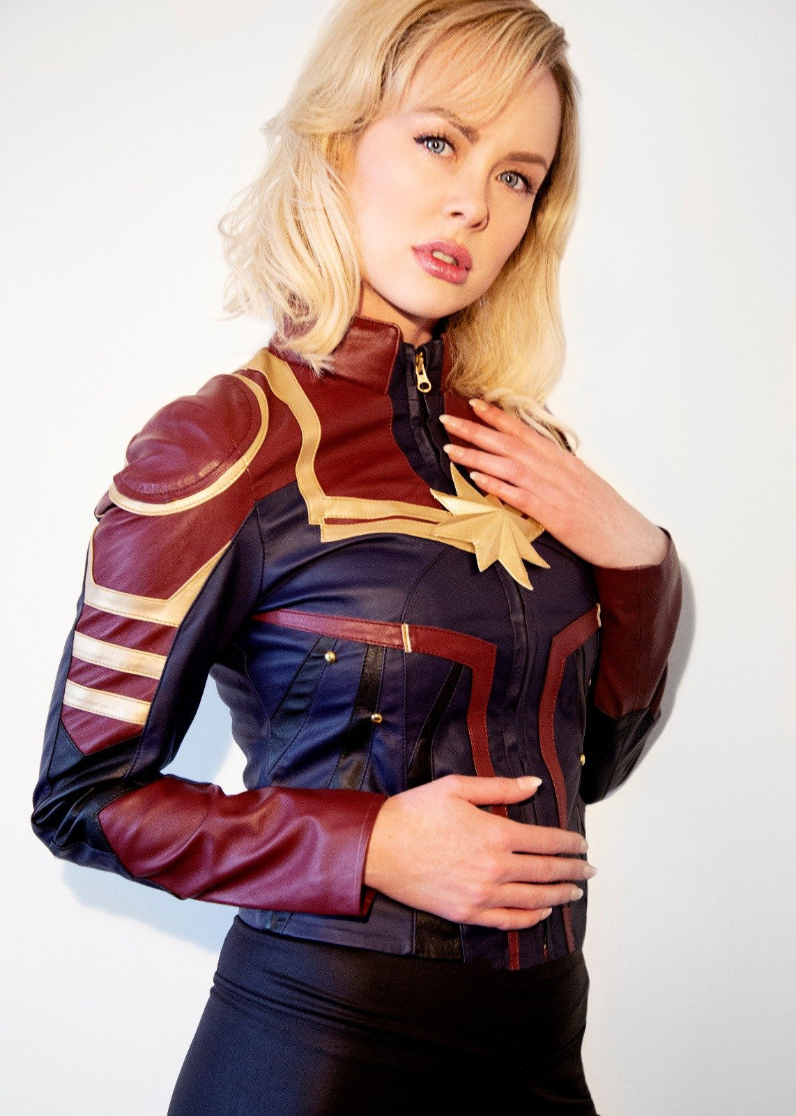 Womens Captain Marvel Leather Jacket Brie Larson Carol Danvers