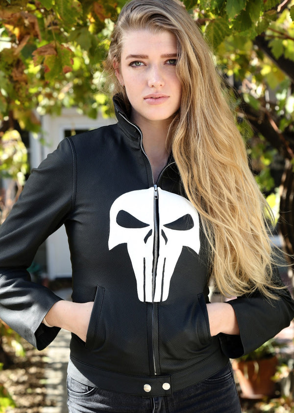 Womens Punisher Frank Castle Skull Leather Jacket