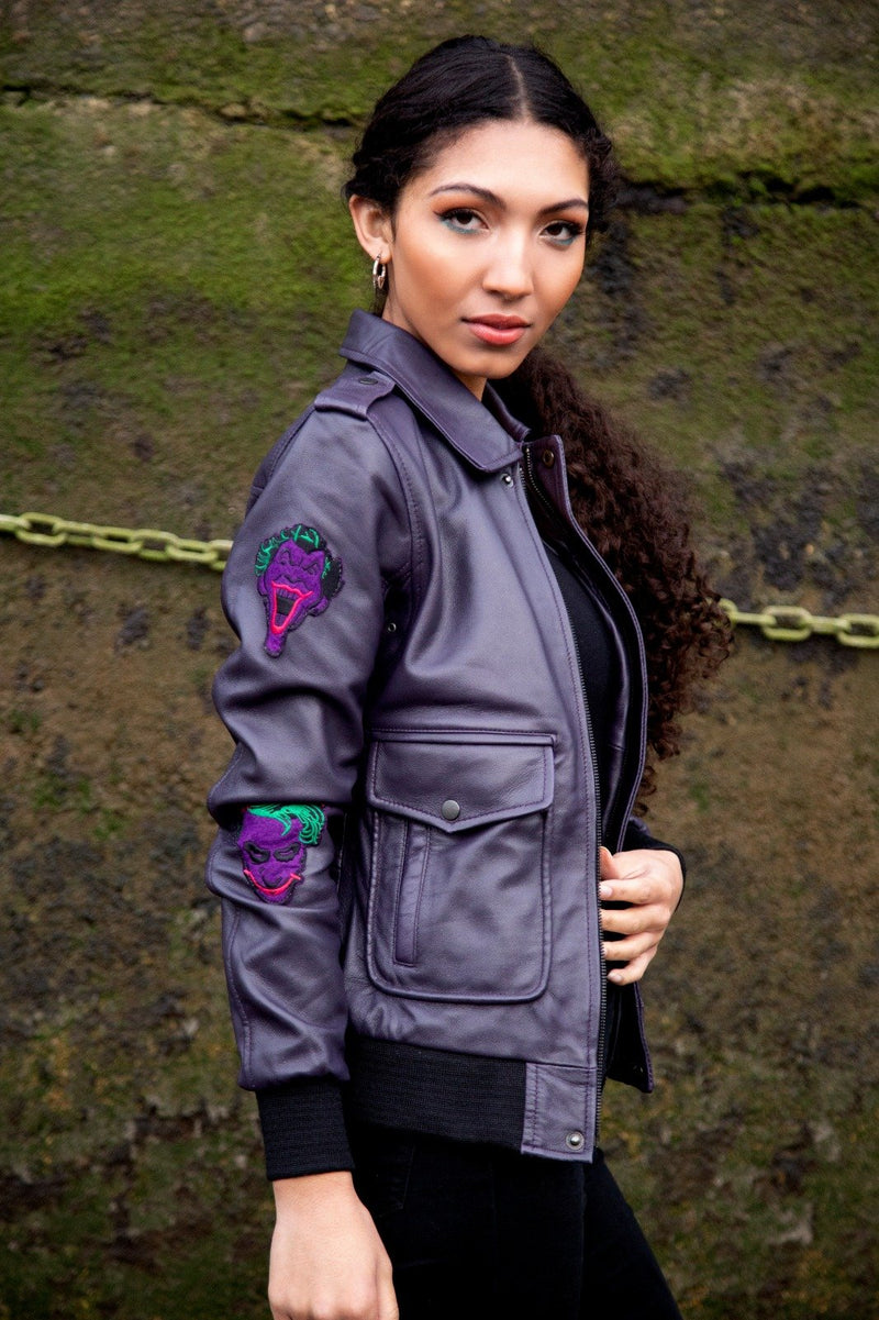 Buy Womens Joker DC Comics Leather Jacket Bomber