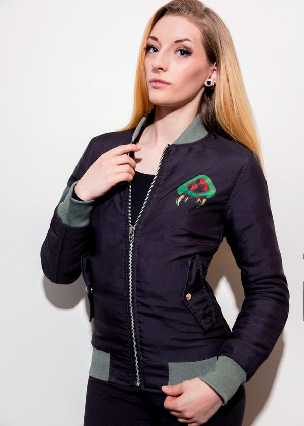 Womens Nes Metroid Bomber Jacket Retro Nintendo Game Hoodie Black Green Gaming