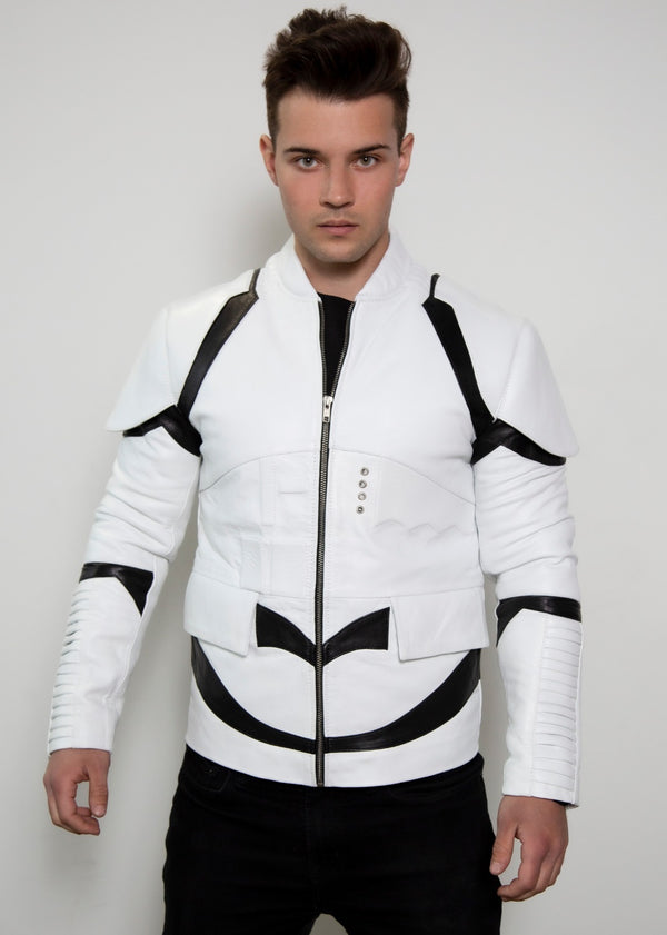 Mens Star Wars Stormtrooper costume leather jacket armor replica