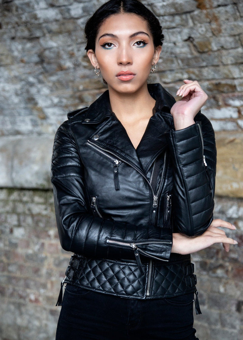 Buy Womens Black Quilted Leather Motorcycle Jacket Black