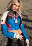 Womens Overwatch DVA Crop Top Leather Jacket Blue