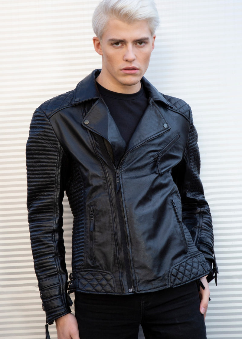 Mens Black Quilted Leather Jacket Hawthorne Luca Jackets