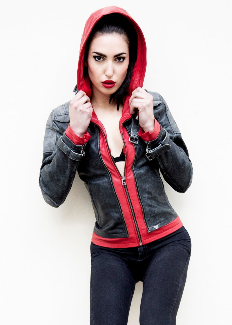 Womens Arkham Knight Red Hood Leather Jacket