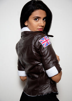 Womens Tracer Brown Leather White Fur Lining Bomber Jacket