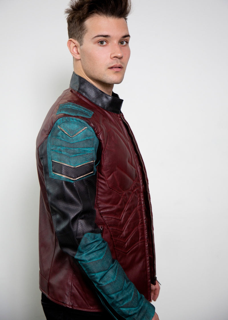 Mens robin  batman armored  red leather jacket cosplay