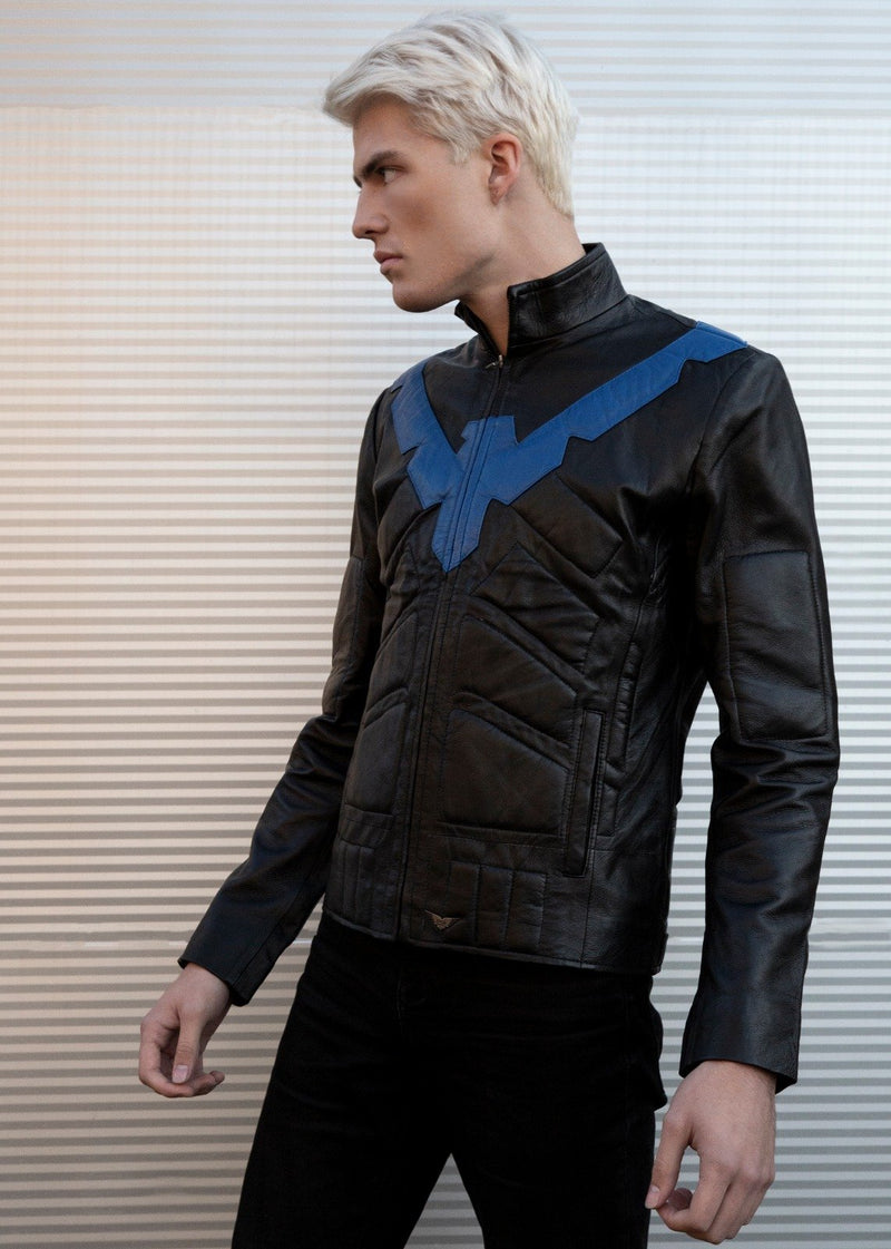 Mens Nightwing Black Leather Jacket Eagle Dick Grayson