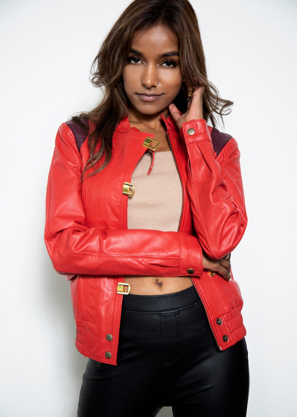 Womens Akira Kaneda Red Leather Motorcycle Jacket
