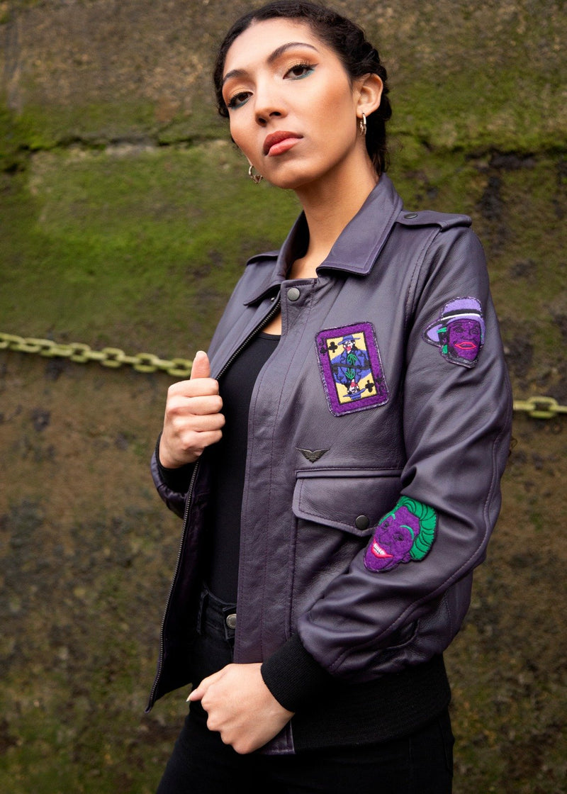 Womens DC Comics Joker Leahter Jacket Purple