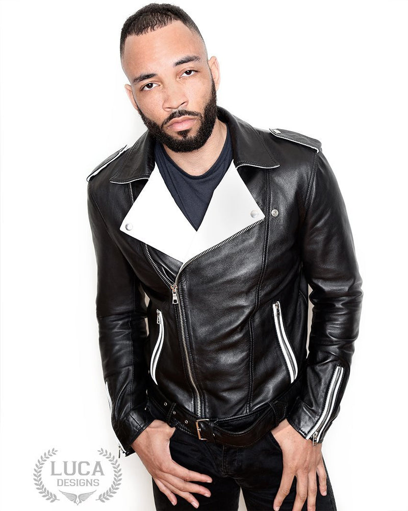 Mens Fashion Leather Jacket Black White Contrast