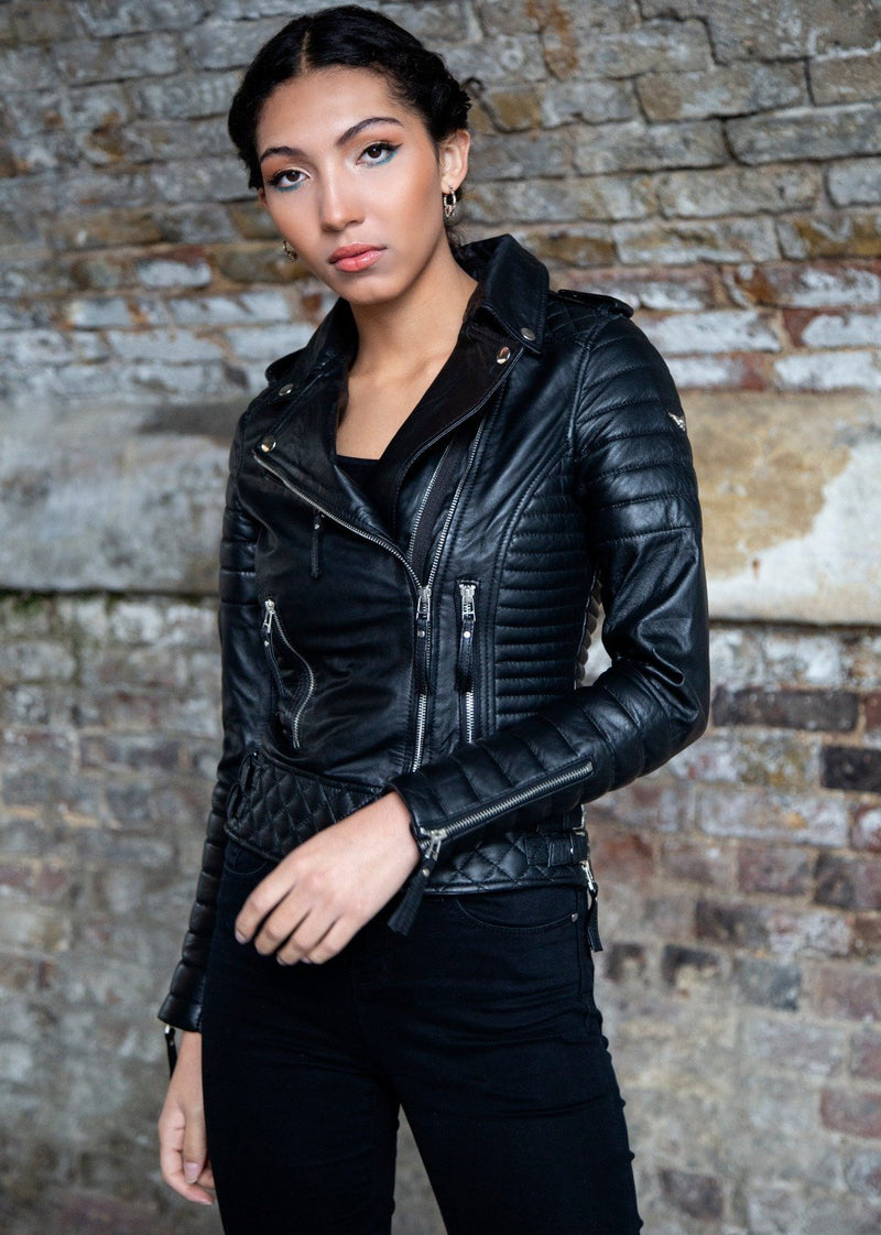 Womens Quilted Leather Motorcycle Jacket Black Moto