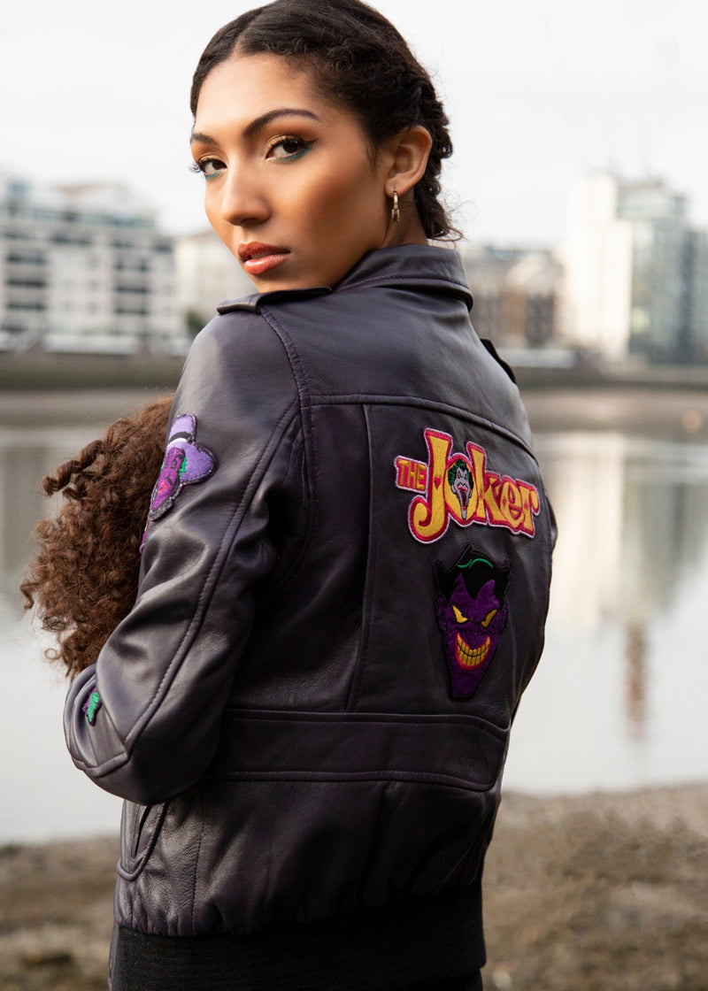 Womens Joker Leather Jacket Purple