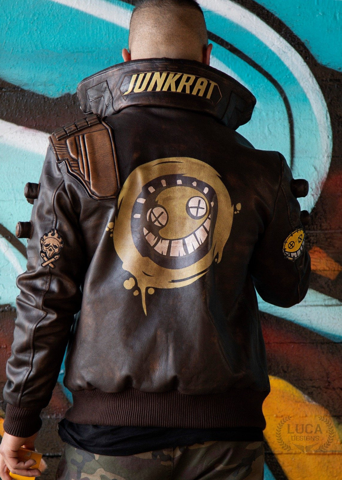 Mens Overwatch Junkrat Leather Jacket
