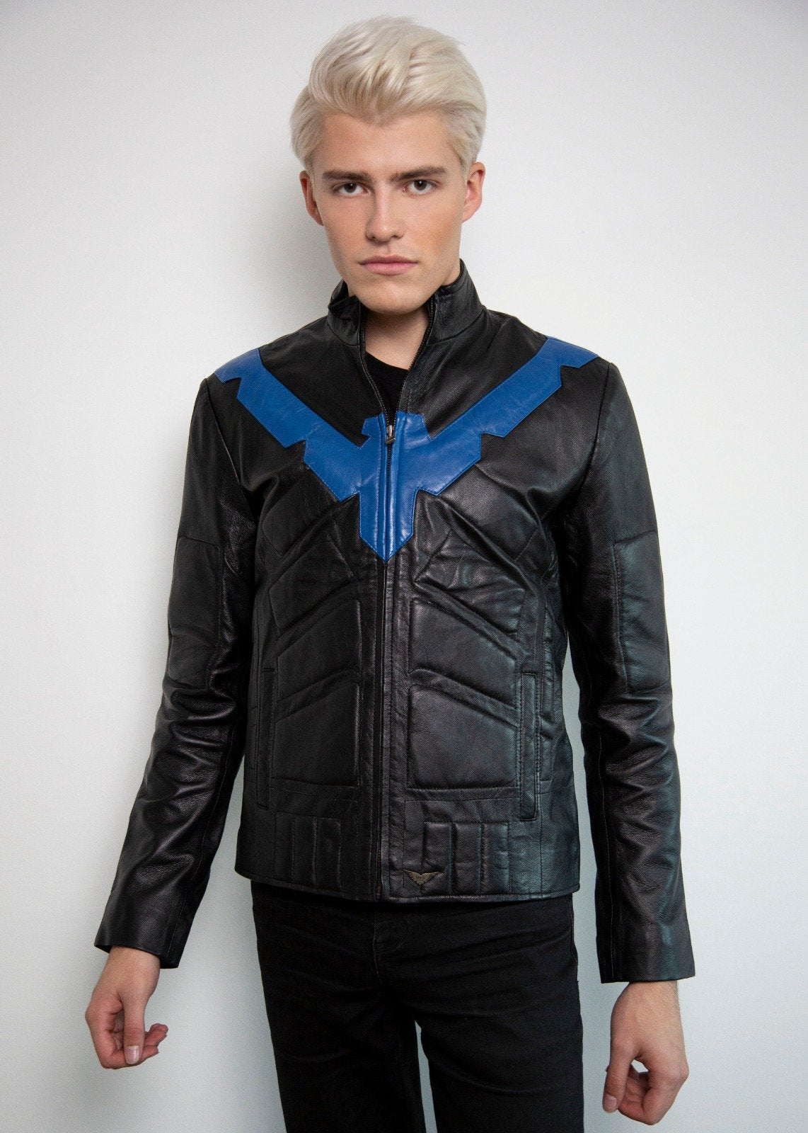 Mens Dick Grayson Nightwing Black Leather  Moto Jacket Eagle Blue