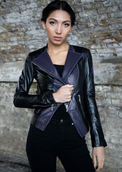 Womens Overwatch Sombra Asymmetrical Moto Leather Jacket