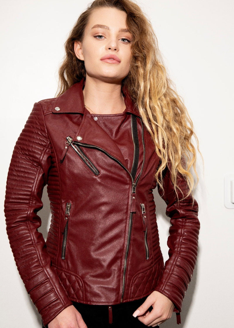 Womens Quilted Leather Motorcycle Jacket Maroon