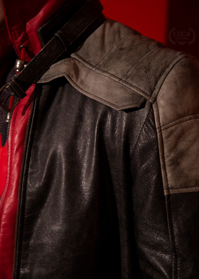 Mens redhood jacket closeup luca designs