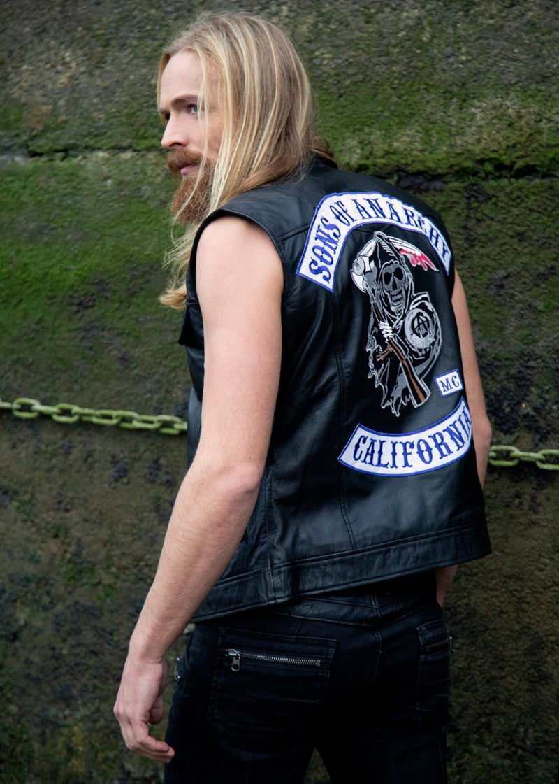 Sons of Anarchy Leather Vest SOA Motorcycle Biker Jacket